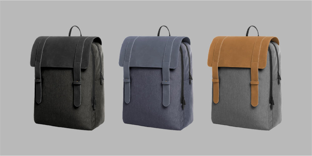 Notebook backpack with zip front pocket with two flat pockets