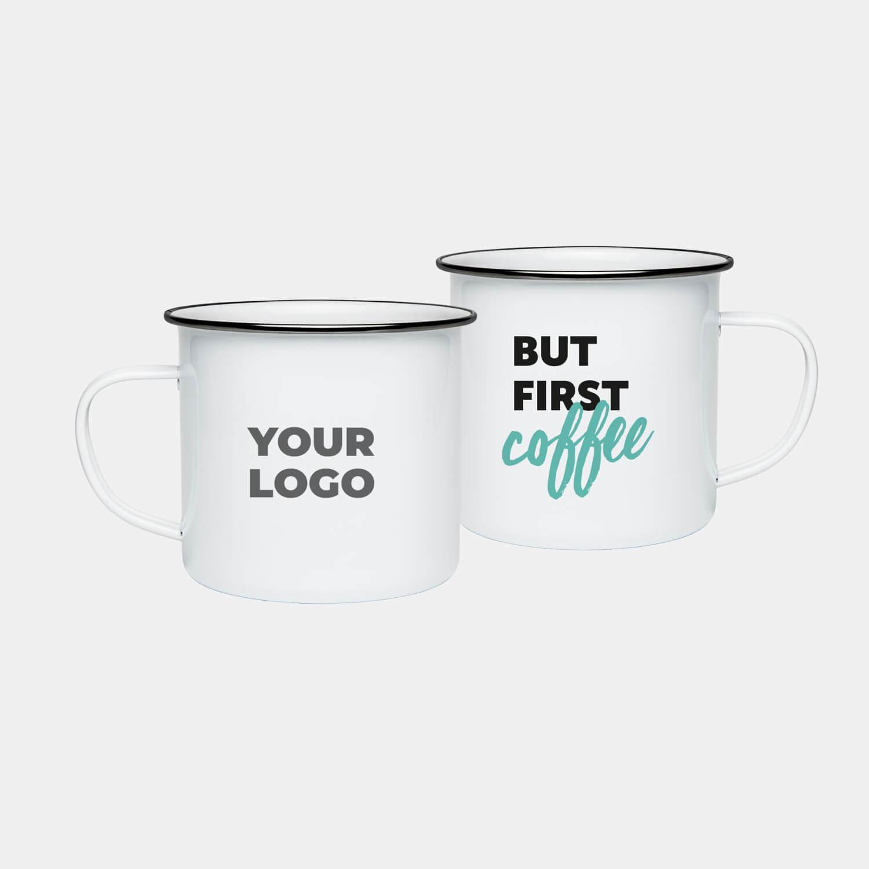 Mitarbeiter-Geschenke-Homeoffice-Box-Emaille-Tasse Logo