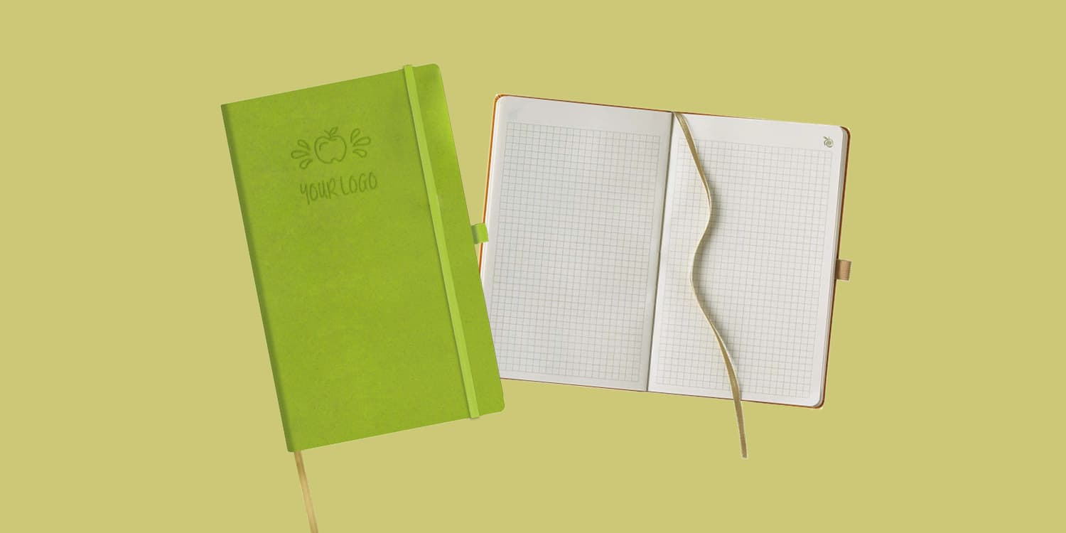 Meaningful sustainable employee gift notebook apple leather