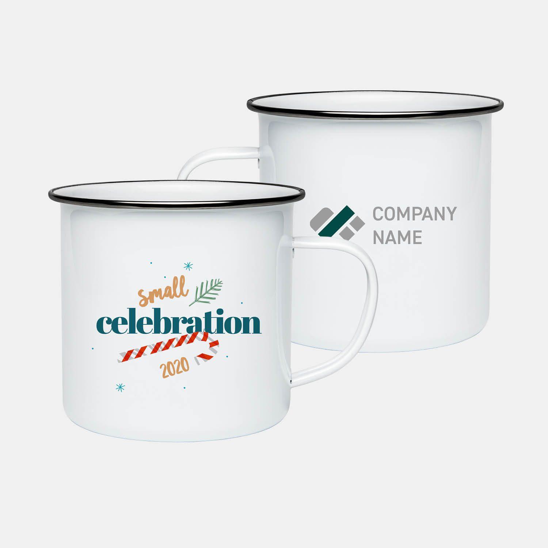 enamel mug with company branding